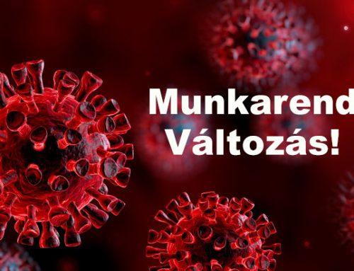 Koronavírus – Munkarend Változás